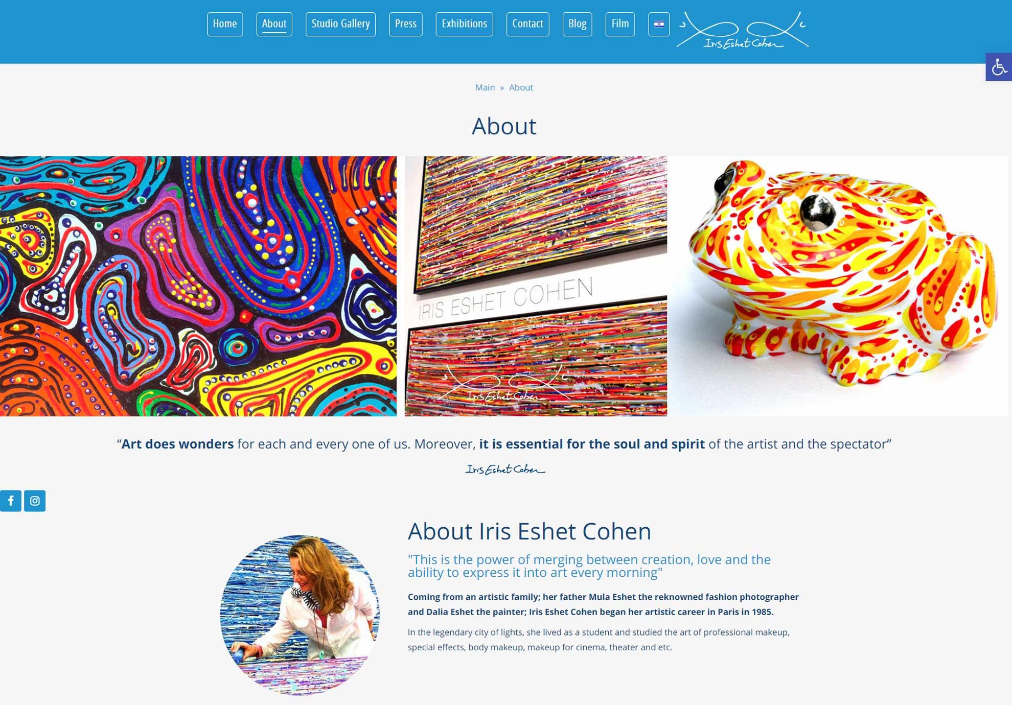 מעוף -עיצובים - עיצוב ובניית אתר לאמנית איריס עשת כהן