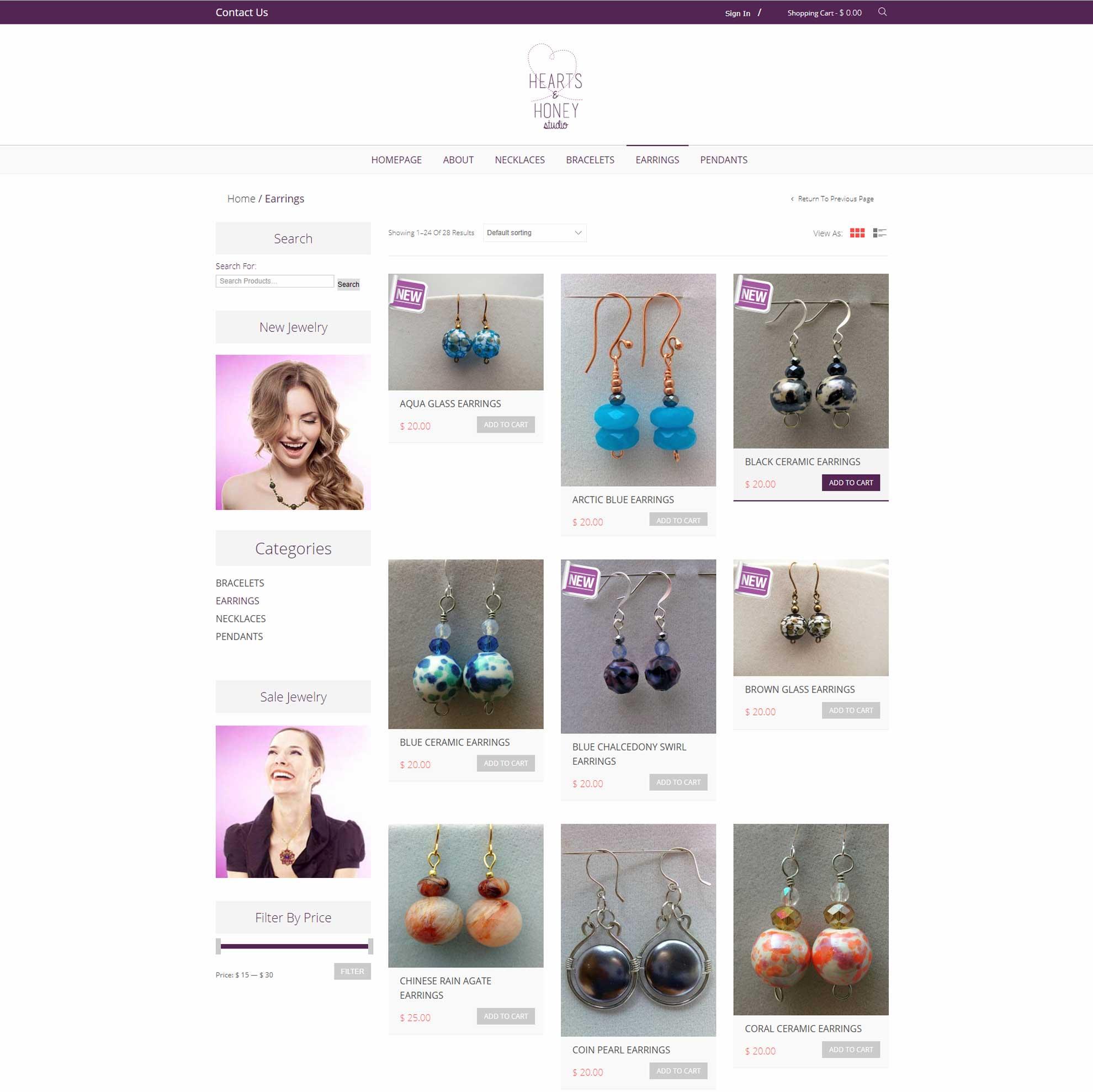 חנות תכשיטים וירטואלית Hearts & Honey Studio