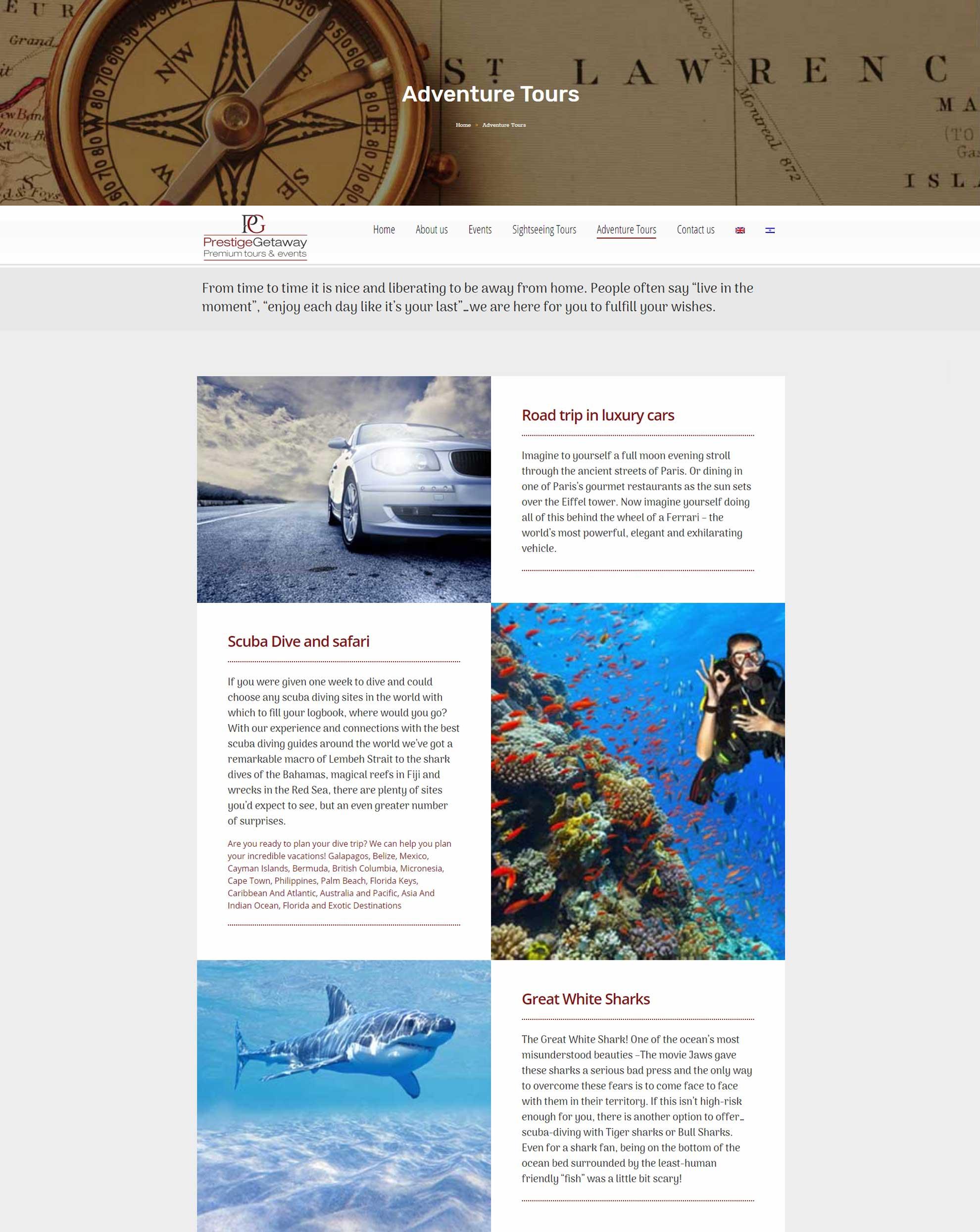 עיצוב ובניית אתר תיירות prestige-getaway